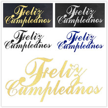 DIY Feliz Cumpleanos Spainish Happy Birthday Cake Flag Topper Double Stick For Birthday Party Cake Baking Decor 20x11CM feliz feliz aburrimiento