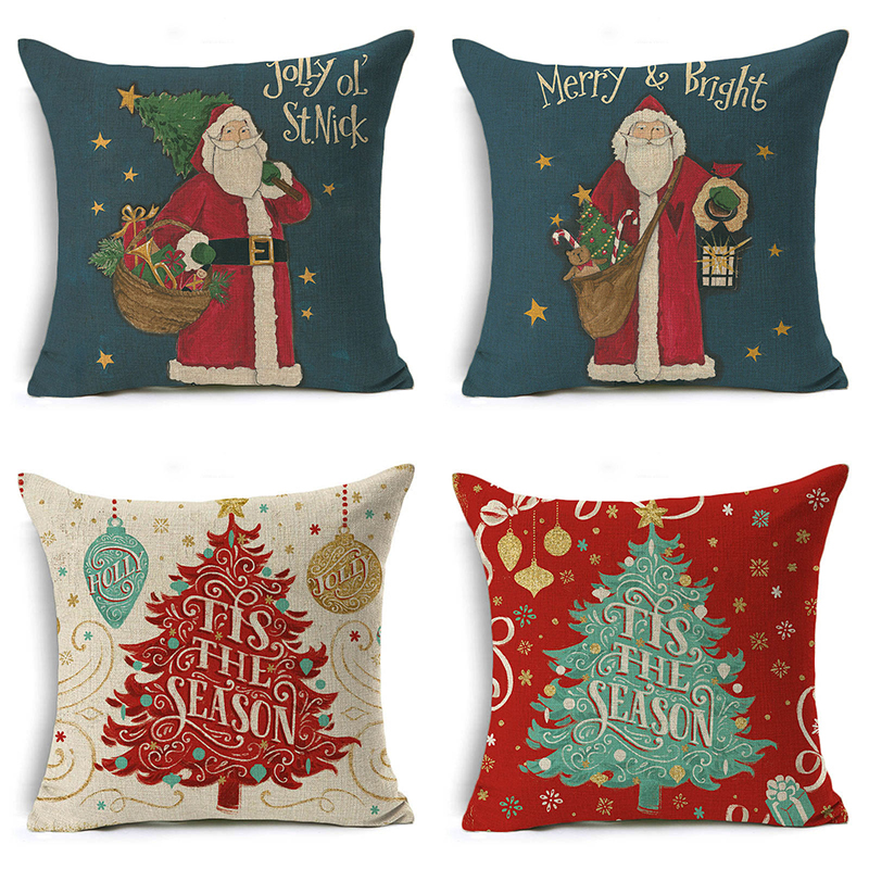 Monily Christmas Tree Pillow Cover Santa Claus Snowman Flower Cushion Cover Letters Decorative Throw Pillow Case Sofa Home Decor