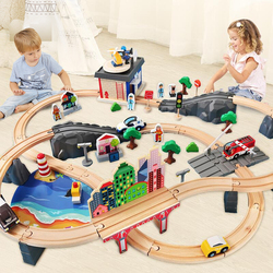 Wooden Trains Track Toy Set Magical Brio Track  Station Bridge Accessories Railway Model Educational 3D Pulzze Toys For Children