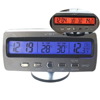 569bbca94a1a Coche termómetro reloj de alarma del voltímetro del automotriz Interior y  Exterior medidor de temperatura reloj calendario Monitor de tensión VST7045V