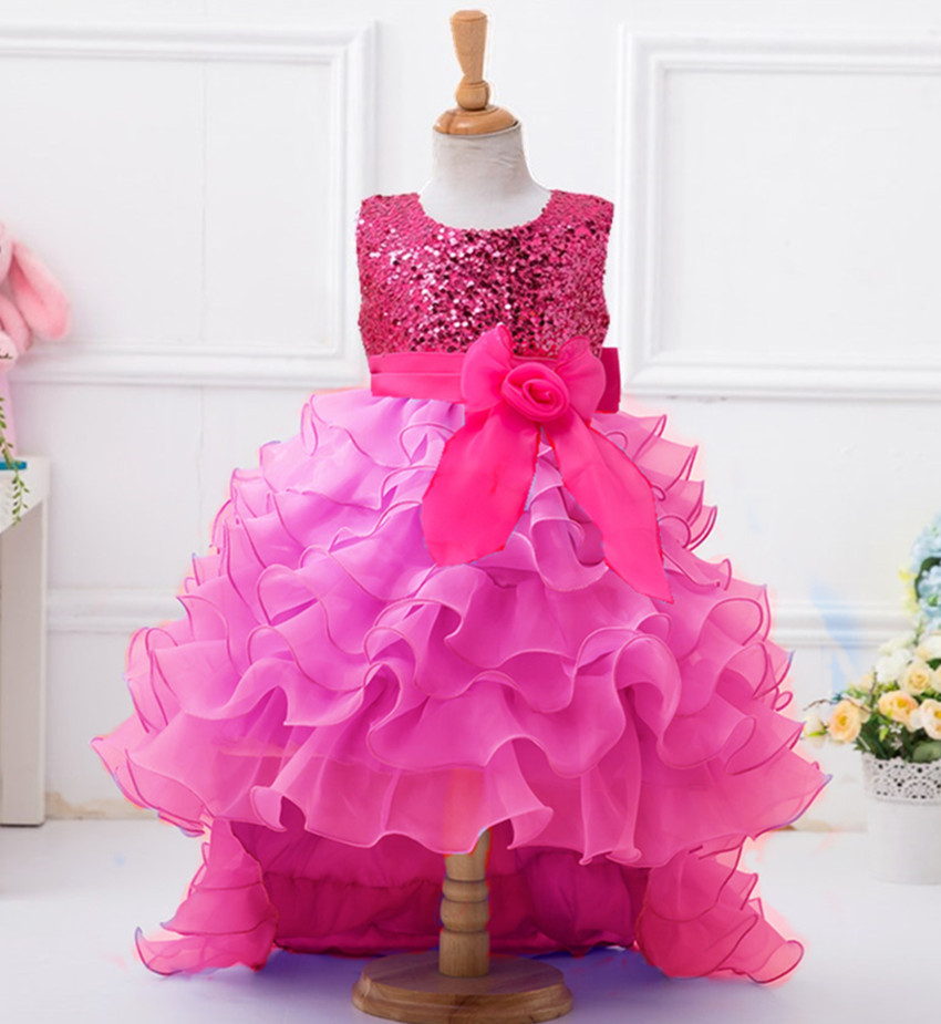 New Style European Girls-evening-dresses Flower Girls Kids Baby Gown Princess Party Formal Wear Children Hot Pink Wedding Dress flower girl dress for wedding party new style halter princess dresses children kids formal clothes girls long trailing gown