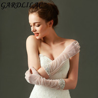 New Hot Sale 1Pair Finger Lace Wedding Gloves New Hot Sale Fashion Beige Bride Bridal Gloves With Beading