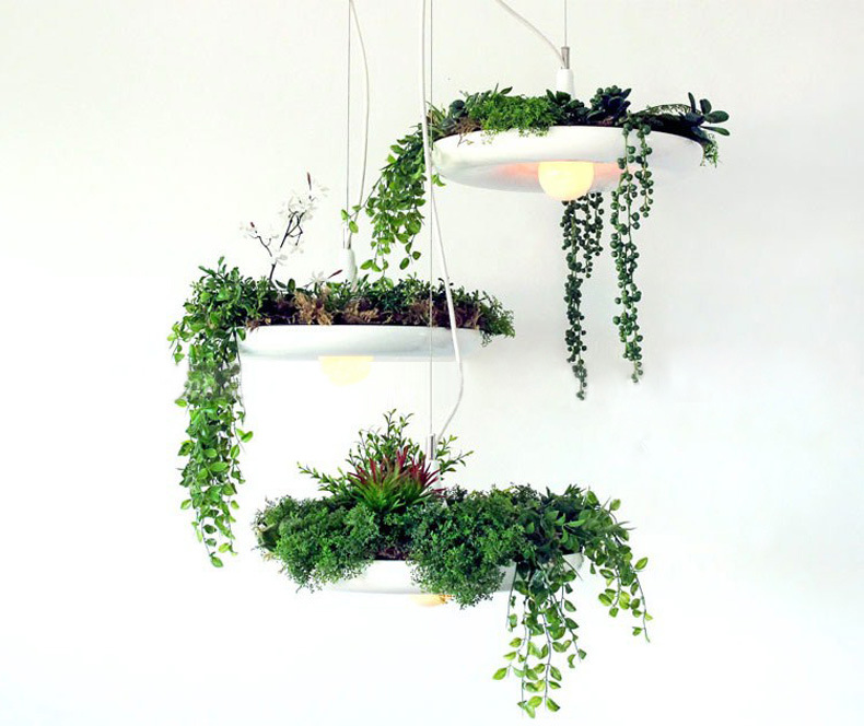Three piece Free Included Bulbs White/Black/Green Babylon Plants pendant Lamp Pots Potted Plants lamp light Potted Plants light singular bulbs magic props white silver black