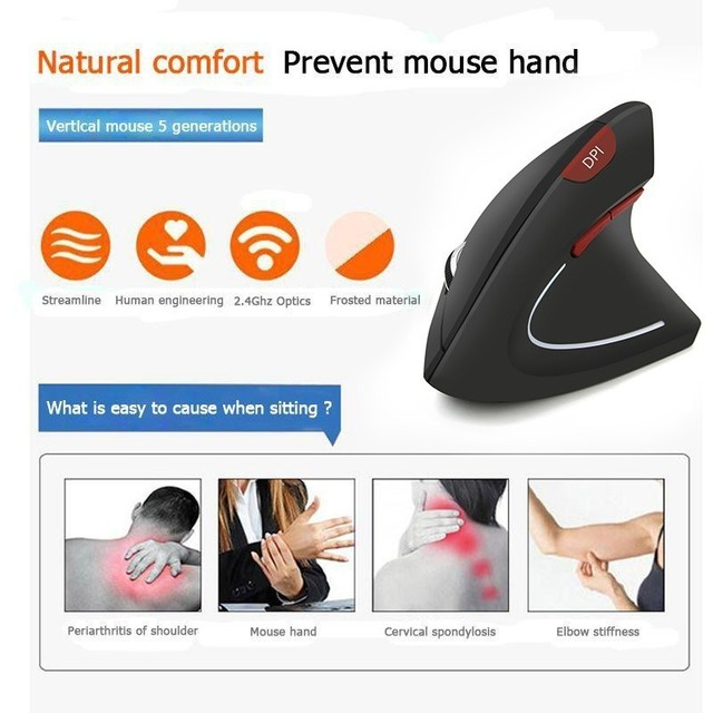CHYI Vertical Wireless Ergonomic Computer Mouse Red 1600DPI Button Optical 6D Gamer Mause LED Backlit Usb