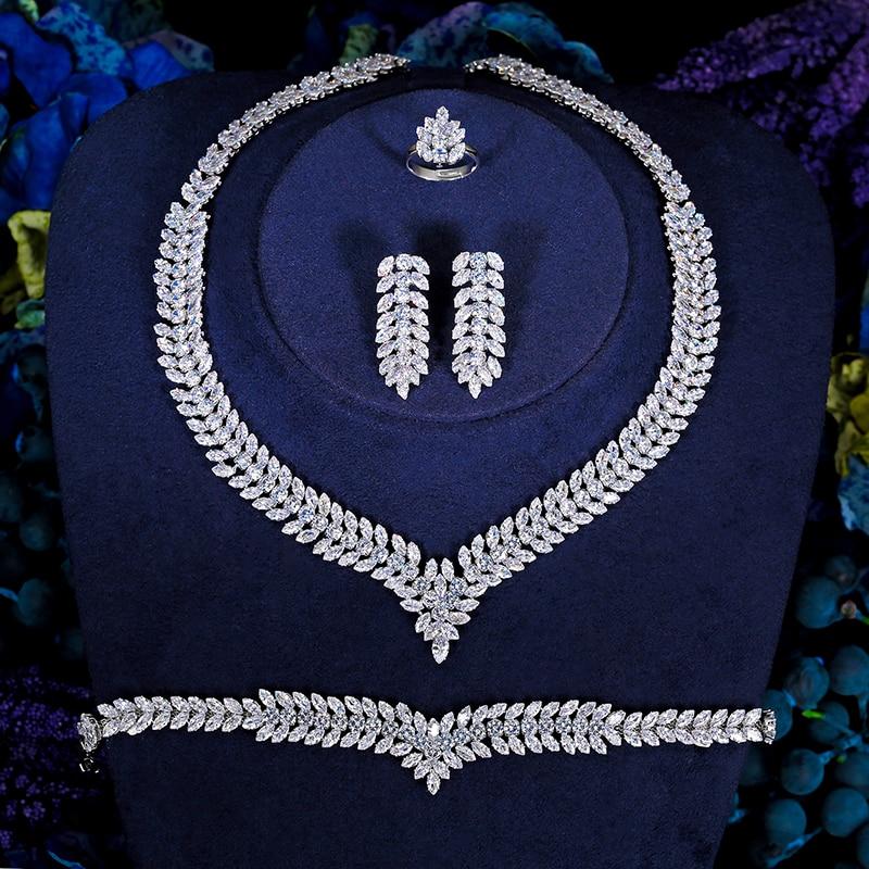 Hadiyana Pandora cubique Zircon cristal 4 pièces bijoux brillant feuille forme chaîne nuptiale de mariage Europe bijoux ensemble BN7630