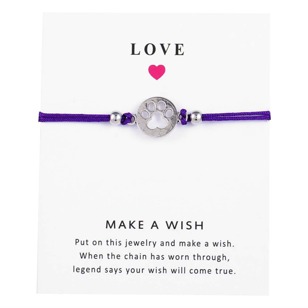 Make a Wish Mini <font><b>Dog</b></font> Paw Charm <font><b>Bracelet</b></font> Femme Adjustable Lucky Purple String <font><b>Bracelets</b></font> Women Kids Wish Jewelry Card Gift image