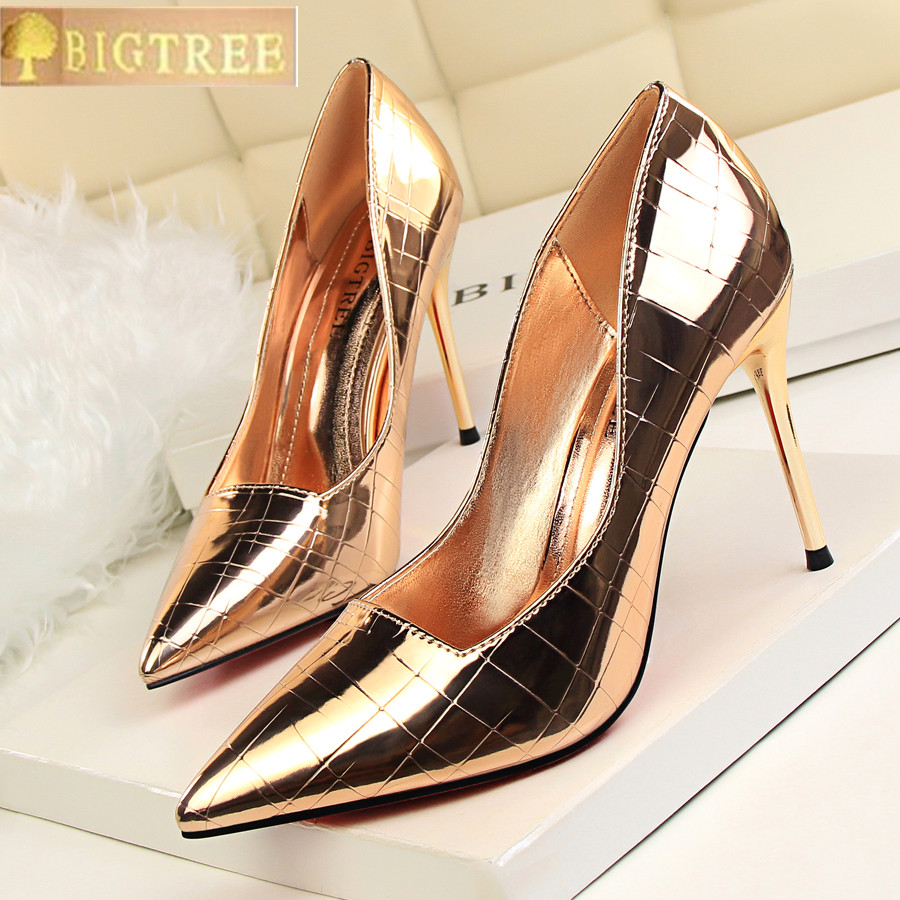 2018 Retro Stone Pattern Women Pumps Fashion Patent Leather Party Shoes Pointed Toe Shallow Women's High Heels Shoes 8 Colors