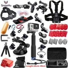 SnowHu For Gopro accessories set for go pro hero 6 5 4 3  kit Three way selfie stick for Eken h8r h9 h9r xiaomi yi EVA case Y58