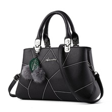 где купить Women Bag Top-handle Female Briefcase Handbag Shoulder Bag PU Messenger Bags Black Casual Crossbody Leather Satchel Tote дешево