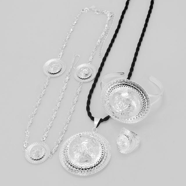 Conjunto de Jóias de Prata brilhante Etíope Corda Pingente/Anel/Pulseira/Corrente de Prata Banhado A Eritreia Etiópia Testa Itens # LS00001B