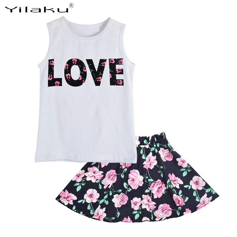 Girls Clothing Sets 2017 New Summer Girls Clothes Letter Love Flower Vest Short Skirt Kids Clothes Suits Children Clothing CF442 2016 spring girls clothes girls clothing sets new arrival female child flower print o neck pullover short skirt set baby twinset
