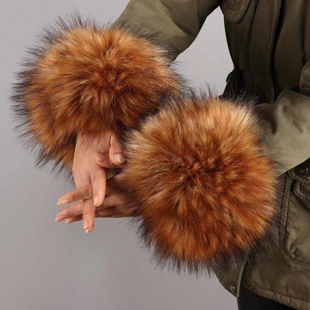 2019 Frauen Winter Faux Pelz Plüsch Manschette Winddicht Arm Oversleeve Handgelenk Arm Armband Wärmer Armband Mode Kleidung Zubehör