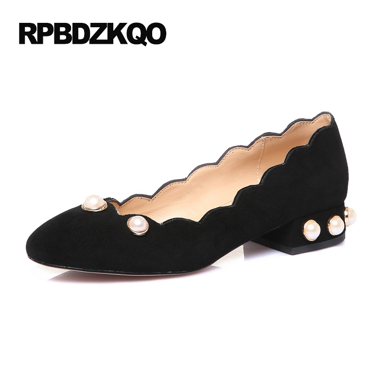 Suede Handmade 2017 Flats Slip On Women Embellished Large Size Black Pearl Chic Ladies Beautiful Shoes Round Toe Luxury Latest pointed toe 2017 large size rivet ladies latest metal flats ankle strap red wine star pearl women beautiful shoes drop shipping