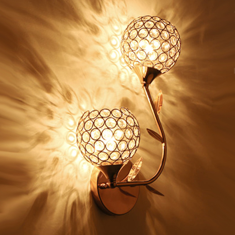 Luxury flower bedside lamp crystal wall lamp classic design creative wall lamp fixture aristocratic decorative corridor