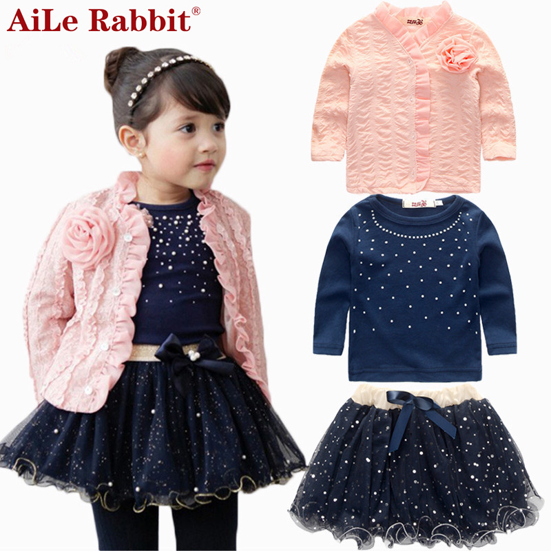 AiLe Rabbit 2016 spring baby girls clothing sets 3 pieces suit girls flower coat + blue T shirt + tutu skirt girls clothes 2016 spring girls clothes girls clothing sets new arrival female child flower print o neck pullover short skirt set baby twinset