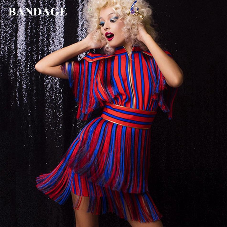 Rouge bleu rayé gland Mini fête robes femmes tenue frange célébrité tenue de club gland robes Sexy robe de piste
