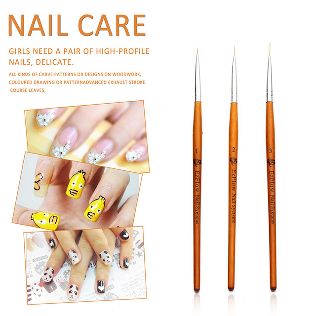 3 Pcs Nail Art Brush Ultra Thin Uv Gel Polish Lining Dotting ...