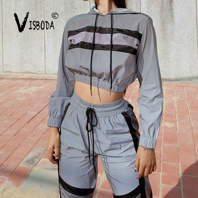 Womens Tracksuits 2 Piece Set Reflection Crop Top And Pants Fashion Female Loose Long Sleeve Hoodies Jogger Pants Sets Femme