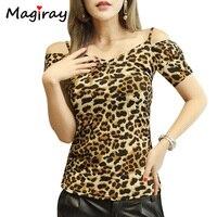 Magiray Artı Boyutu 4XL Leopar T Shirt Kadın Kapalı Omuz Üst yaz 2017 Moda Backless Tee Gömlek Femme V Boyun T-shirt C526
