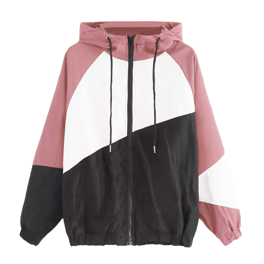 Women Basic Jackets Female Zipper Pockets Casual Long Sleeves Coats Autumn Hooded Jacket Two Tone Windbreaker Jacket 2020 Lady