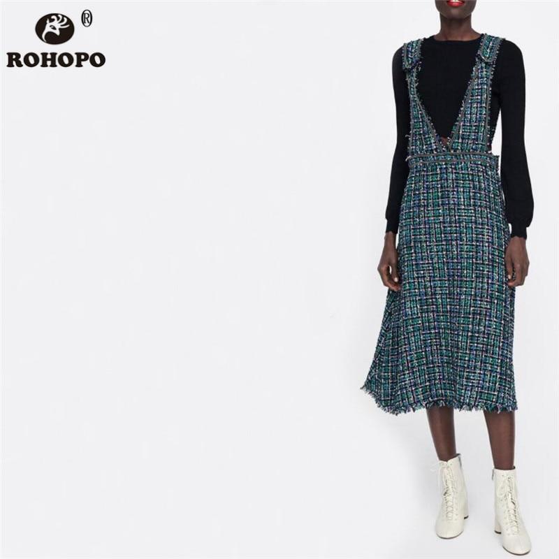 ROHOPO Wide Strap Overall Women Midi Dress Jersey Beading High Waist Flared British style Chic Girl Mid Calf Dresses #UK9101D