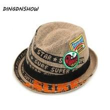 a502f6879984b  DINGDNSHOW  2018 Trend Children Linen Sun Hat Summer Hats Linen For Boys  Kid Casual
