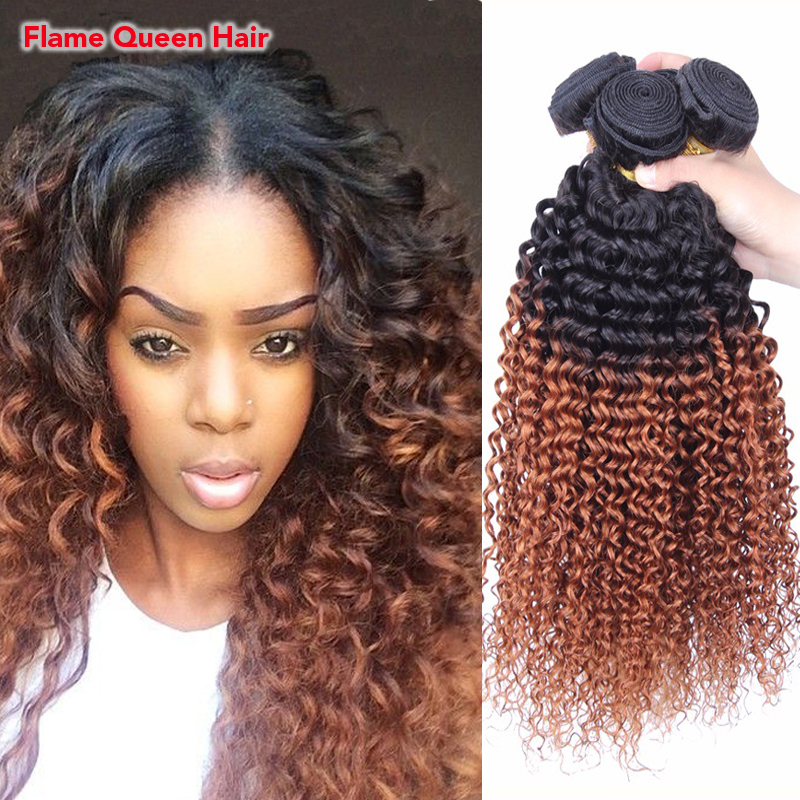 6A Ombre Brazilian Virgin Hair Kinky Curly Two Tone 1B30