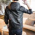 Chinese Character Printing Men Hooded Jacket Male Fashion Casual Pullover Jacket Big Size M-5XL Mens Coat China Size