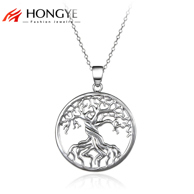 Wholesale Fashion jewelry 2018 Silver Chain Necklace Pendant Tree of Life Necklace Vintage Charms Jewelry Femme faux turquoise engraved hope life tree leaf necklace