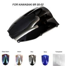 цена на ABS Windscreen For Kawasaki Ninja ZX-6R ZX6R 636 2000 2001 2002 Double Bubble Motorcycle Windshield Iridium Wind Deflectors