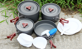 Fire Maple 4-5 Persons Pot Sets  (Frying Pan/Cauldron/Medium Pot/Pannikin) Camping Set Be Cocina Camp Cooking Cookware FMC-206