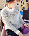 Free Shipping High Quality Autumn Winter New Arrival Hot Sale Star Style Rhinestone Retro Rabbit Hair Woman Sweater Grey