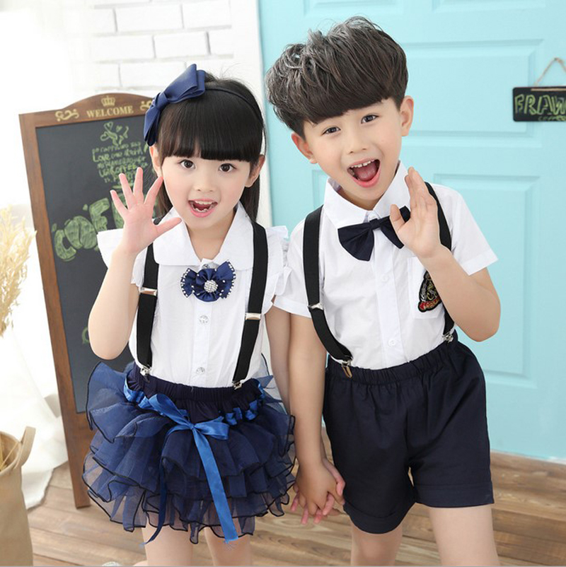 Fashion Baby Boys Girls chorus School Uniforms Children's Clothes Sets Kids White Blue Shirts  tiered Skirt tutu Suits overalls