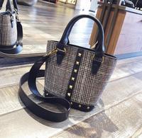 Houndstooth Rivets Handbag Totes Pu Leather Women Shoulder Bag 1945 Fashion Woman Crossbody Bag Christmas Gift