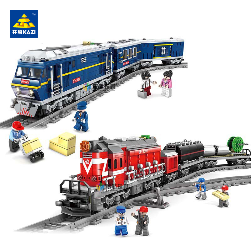 Kazi NEWEST 98219 98220 City Series modelS the Cargo Set Building Train track Blocks Bricks Train Educational Toys For Children