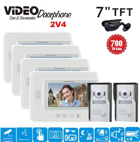 ZHUDELE 7 Inch Video Door Phone Intercom Video Eye 4 Indoor Monitor+2 700TVL HD Doorbell Camera Video Doorbell System