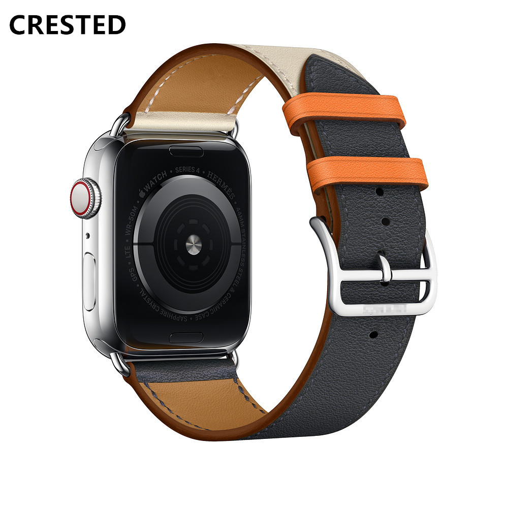 CRESTED correa de cuero para Apple Watch banda 42mm 38mm 4 3 iwatch banda 44mm 40mm correa pulsera Correa reloj accesorios 2/1