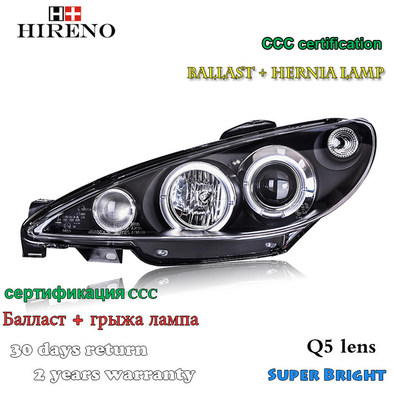Hireno Car styling Headlamp for 2004-2008 Peugeot 206 Headlight Assembly LED DRL Angel Lens Double Beam HID Xenon 2pcs