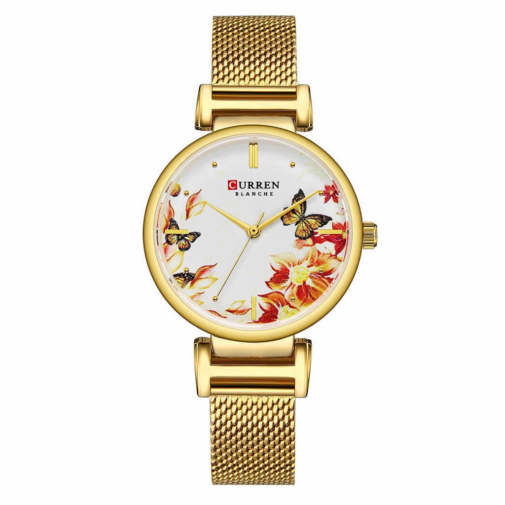 יוקרה נשים שעון שמלת צמיד שעון אופנה עמיד למים אולטרה דק רשת חגורת ציפור שפה פרח חיוג גבירותיי שעונים #50
