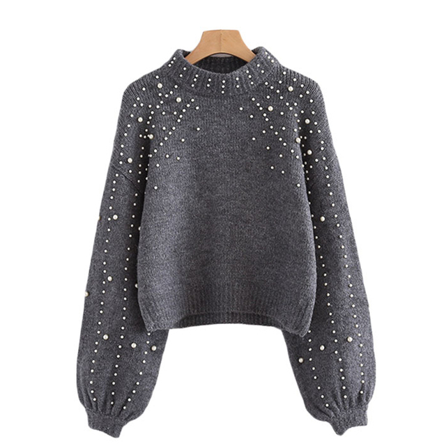 50152186935 2017 Fashion Pearl Designer Womens Winter Sweater Thicken Warm Knitwear  Ladies Christmas Pullover Knitted Jumper Plus Size