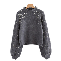 2017 Fashion Pearl Designer Womens Winter Sweater Thicken Warm Knitwear Ladies Christmas Pullover Knitted Jumper Plus
