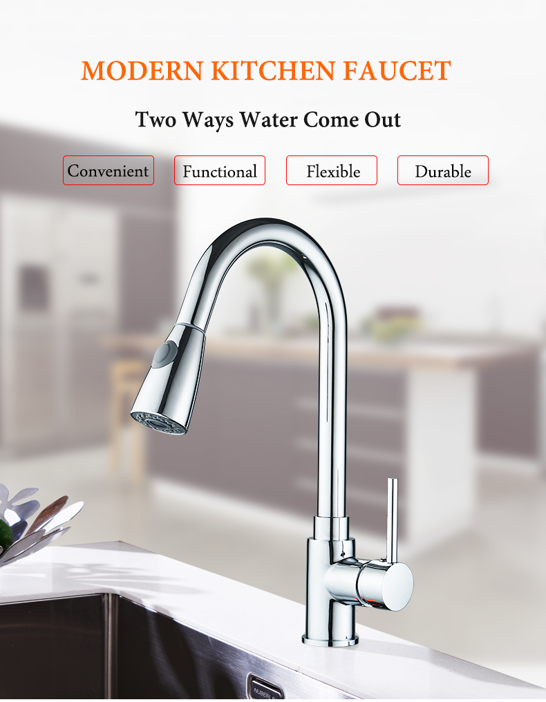 Kitchen Faucets Silver Single Handle Pull Out Kitchen Tap Single Hole Handle Swivel 360 Degree Water Mixer Tap Mixer Tap 408906 8