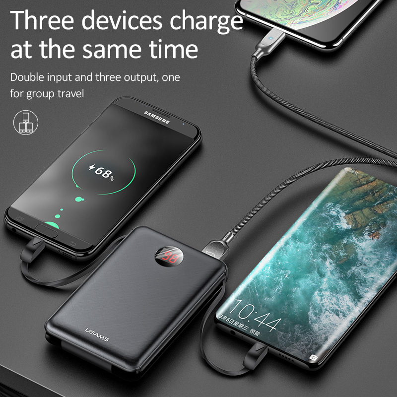 Image 4 - USAMS Power Bank LED Display Mini Powerbank External Battery Poverbank Charging Pover bank with USB Cable for xiaomi mi iPhone-in Power Bank from Cellphones & Telecommunications