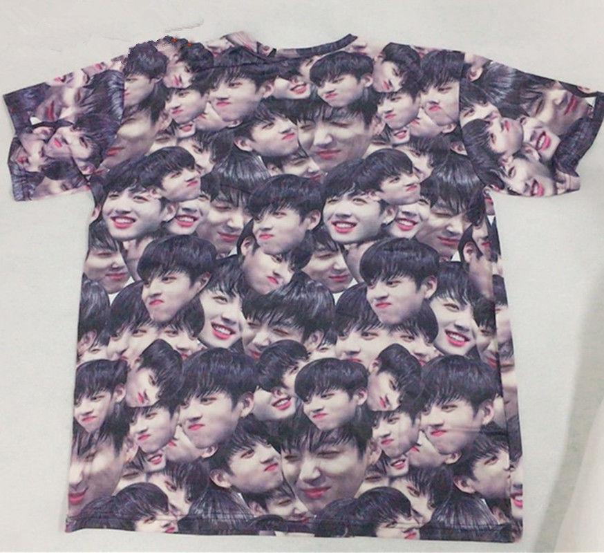 Mainlead Kpop BTS Jung Kook Face Print Tee Bangtan Boys Merchandise T-shirt Unisex