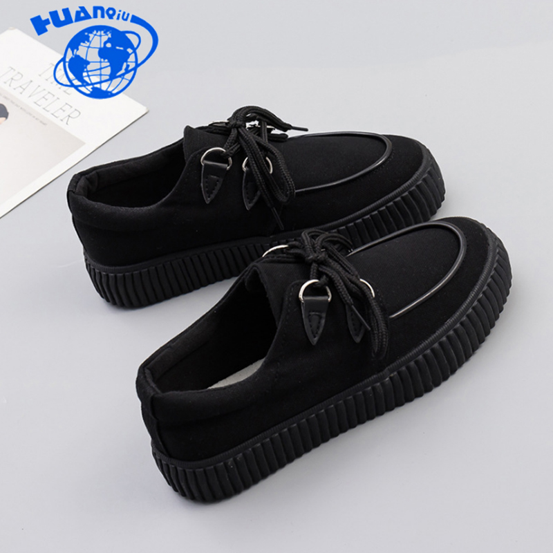 HUANQIU 2019 spring autumn new thick soled white platform shoes female comfortable shoes ulzzang canvas shoes