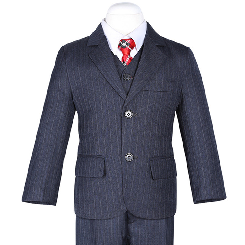 Three Pieces Fashion Deep Navy Blue Stripes Boys Formal Suits Weddings Children Dress Suits For Italian