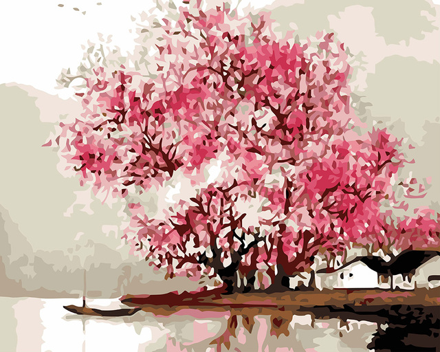 hasyou new diy oil painting pink cherry blossom tree by numbers