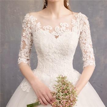 Half Sleeve Wedding Dresses 2020 New Mrs Win Luxury Lace Embroidery Ball Gown Wedding Dress Can Custom Made Vestido De Noiva F 6