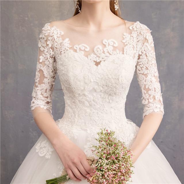 Half Sleeve Wedding Dresses 2021 New Luxury Lace Embroidery Ball Gown Wedding Dress Can Custom Made Vestido De Noiva F 4