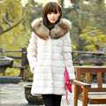 Newest Real Sheared Rabbit Fur Long Coat with Raccoon Fur Hooded Overcoat Women Winter Warm Outerwear Coats Garment